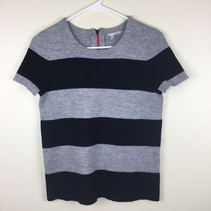 Halogen M Short Sleeve Striped Sweater Merino Wool